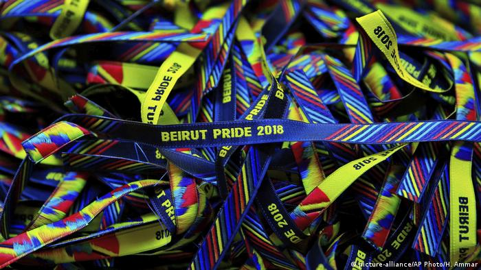 Bracelets decorated with the rainbow colors are displayed at a restaurant during the launch event of Beirut Pride week.