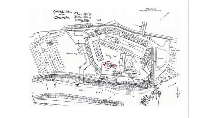 Plan cytadeli w Magdeburgu z naniesionym budynkiem, w którym Piłsudski był internowany