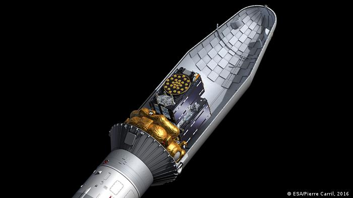 A Galileo satellite sits as cargo in a Soyuz rocket