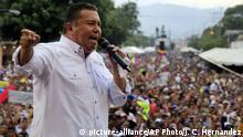 16.05.2018 Venezuelan presidential candidate Javier Bertucci delivers a speech during a rally in Valencia Venezuela, Wednesday, May 16, 2018. Venezuelans will vote for a new president in the upcoming presidential elections on May 20. (AP Photo/Juan Carlos Hernandez)  