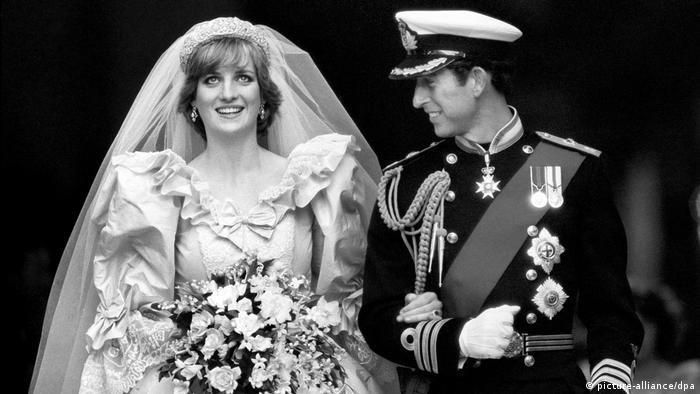 The Prince and princess of Wales on their wedding day, 29.07.1981 (picture-alliance/dpa)