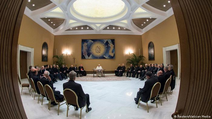 Pope Francis meets with Chilean priests at the Vatican