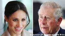 Royal Wedding preparations. File photos of Meghan Markle and the Prince of Wales. Charles will accompany Ms Markle down the aisle at her wedding to Prince Harry, Kensington Palace said. Issue date: Friday May 18, 2018. See PA story ROYAL Wedding. Photo credit should read: PA Wire URN:36564212 |