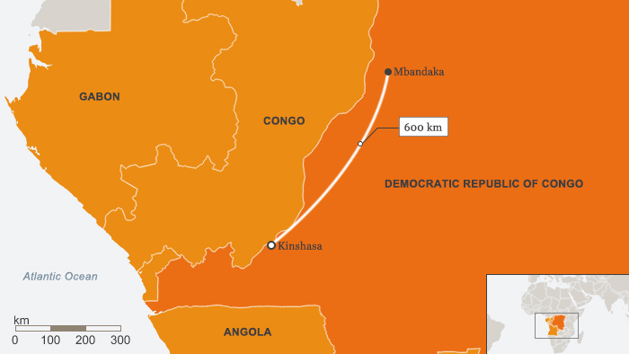 A map of Congo that shows the distance between Mbandaka and Kinshasa