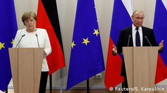 Меркель и Путин на пресс-конференции по итогам переговоров в Сочи
