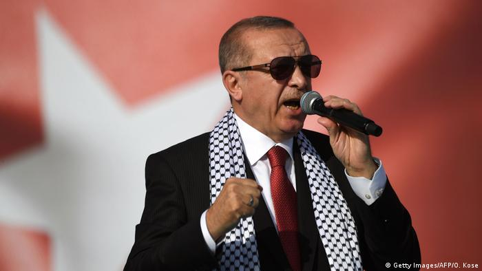 Recep Tayyip Erdogan speaking at a rally in Istanbul