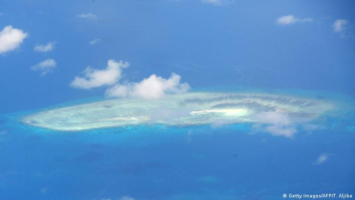 An aerial shot of a reef in the disputed Spratly islands, taken April 21 2017