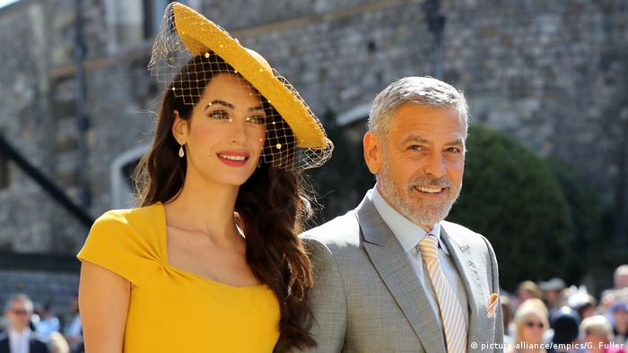 Amal Clooney y George Clooney en el casamiento del príncipe Harry y Meghan Markle.