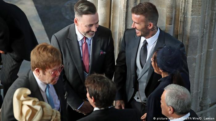 UK | Hochzeit Prinz Harry und Meghan Markle | Elton John, David Backham (picture-alliance/dpa/PA Wire/D. Lawson)