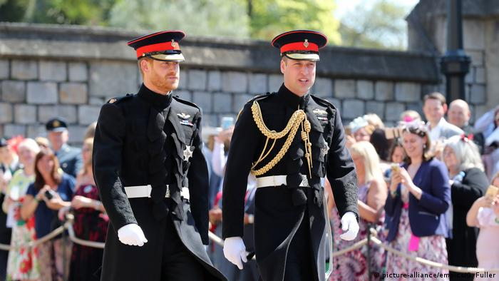 Prince Harry and William at Harry's wedding to Meghan Markle | (picture-alliance/empics/G. Fuller)