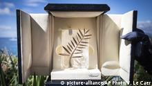 Schachtel mit Goldenen Palme internationales Filmfestival in Cannes, Frankreich