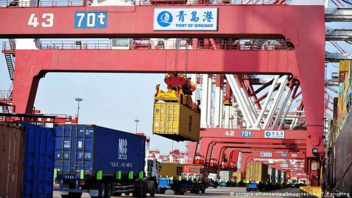A container port in China's Qingdao