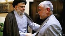Treffen zwischen Sadr und Ameri. Irakische Politiker. Lizenz Frei. Quelle: Fars Schlagwörter: Irak Wahlen. Iraq policy, Sadr, Ameri, Amiri, Irak Koalition Gespräche.