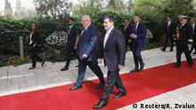 Paraguayan President Horacio Cartes walks next to Israeli President Reuven Rivlin upon his arrival for a meeting at the Israeli president's residence in Jerusalem, ahead of the dedication ceremony of the embassy of Paraguay in Jerusalem, May 21, 2018. REUTERS/Ronen Zvulun