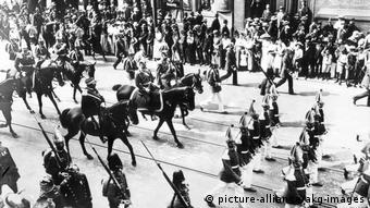 The German Emperor Wilhelm II parades down a Berlin street in 1913