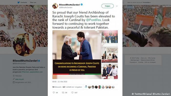 Pakistani politician Bilawal Bhutto congratulated Coutts on his cardinal nomination (Twitter/Bilawal Bhutto Zardari)
