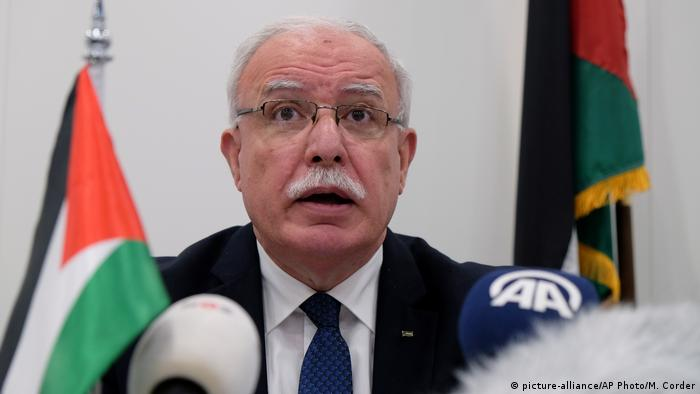 Palestinian Foreign Minister Riad Malki speaks during a press conference at the International Criminal Court.