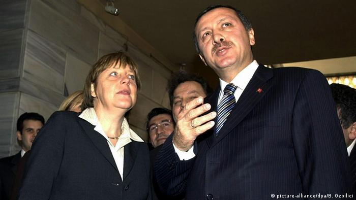 Turkish President Recep Tayyip Erdogan with then-opposition leader Angela Merkel in 2004