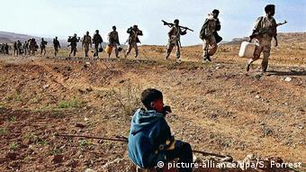 Eritrea Soldaten auf dem Weg zur Front
