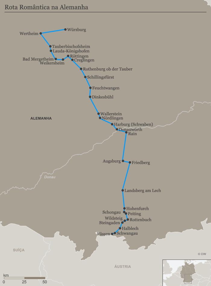 Karte Romantische Straße PT