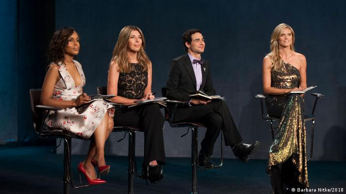 Kerry Washington, Nina Garcia, Zac Posen and Heidi Klum judge the final challenge of Project Runway season 12. (Barbara Nitke/2018)