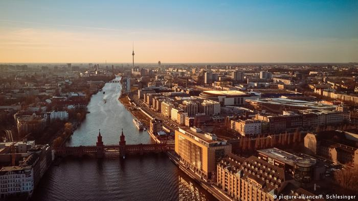 A view of the Spree River from above, showing the former split between East and West Berlin