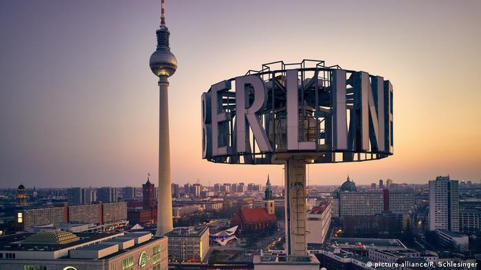 Bird's eye view of Berlin's Alexanderplatz and beyond - at sunset