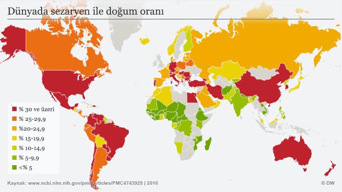 Infografik Muttertag Kaiserschnitt weltweit TR