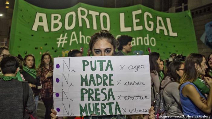 Manifestación en Argentina a favor del aborto.