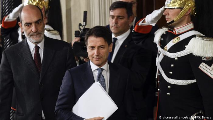 Giuseppe Conte after his meeting with President Mattarella