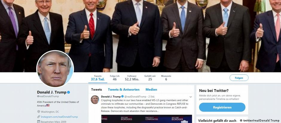 Screenshot | Twitter Account US-Präsident Donald Trump (twitter/realDonald Trump)