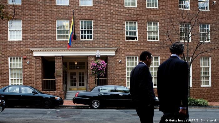People walk past the embassy of Venezuela September 12, 2008 in Washington, DC