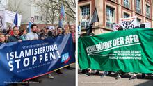 Pro and anti-AfD demonstrators