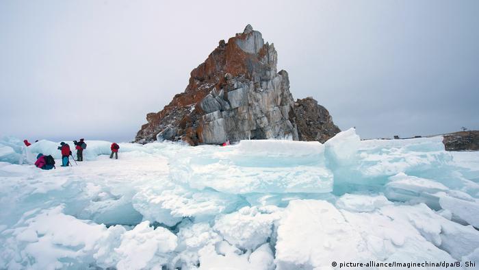 Visitors on the ice at Lake Baikal