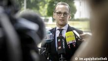 German Foreign Minister Heiko Maas delivers a press statement in Washington.