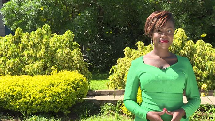 Sharon Momanyi in a green dress.