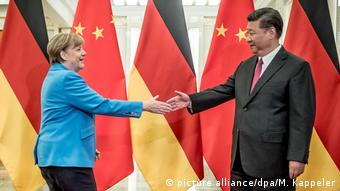China Peking - Angela Merkel bei treffen mit Xi Jinping (picture alliance/dpa/M. Kappeler)