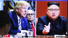Südkorea TV Bildschirm Donald Trump, Kim Jong Un (picture-alliance/AP Images/A. Young-joon)