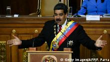Venezuelan President Nicolas Maduro speaks during his second-term swearing in ceremony, at the Congress building in Caracas on May 24, 2018. (Photo by Federico Parra / AFP) (Photo credit should read FEDERICO PARRA/AFP/Getty Images)