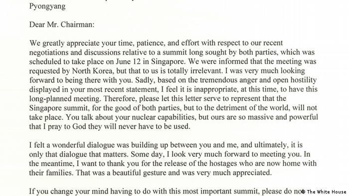Brief Präsident Trump an Kim Jong-un Absage Gipfel (The White House)