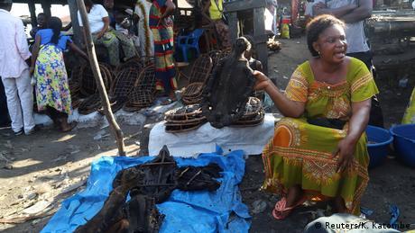 A woman bushmeat trader holds a smoked monkey.