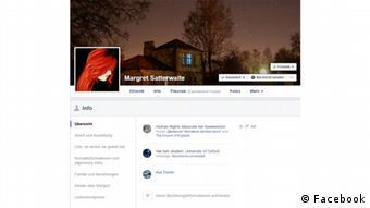 Страница личных данных Маргрет Саттеруэйт в Facebook