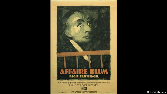 Film poster for The Affair Blum shows a painting of a man's head (DEFA-Stiftung)