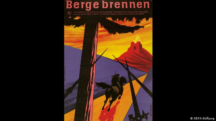 Mountains in Flames poster shows a man on a horse riding towards a burning mountain (DEFA-Stiftung)