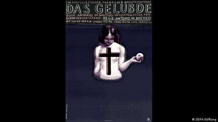 Film poster shows a woman naked, holding an apple, her breasts covered by a cross (DEFA-Stiftung)