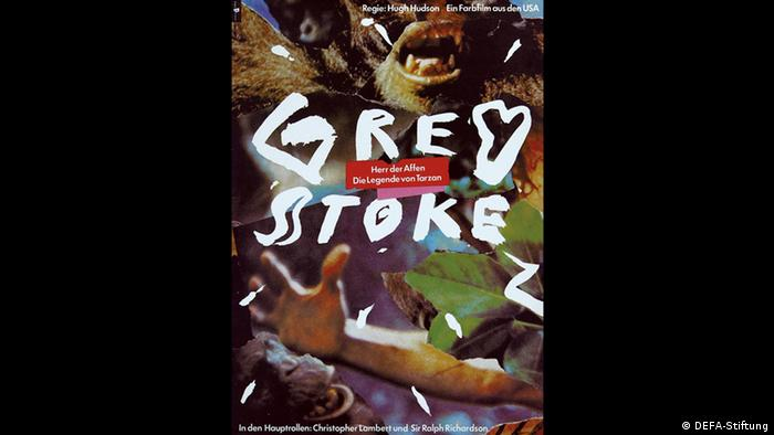 Greystoke poster shows a monkey with bared teeth and a boy's arm (DEFA-Stiftung)