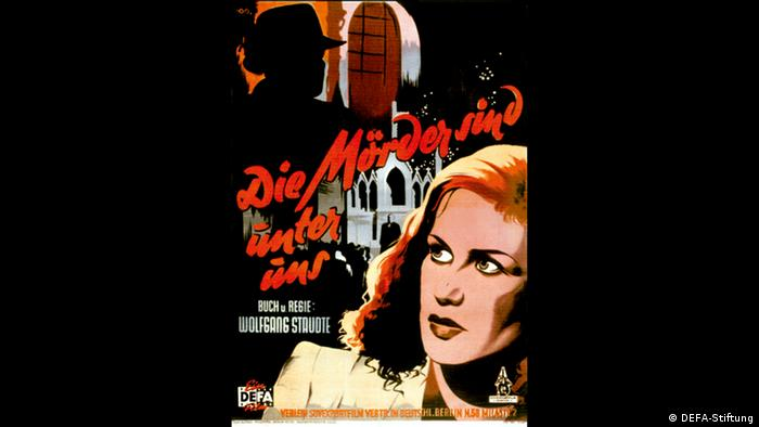 Poster for the film The Murders Among Us shows a drawing of a woman staring at a shadow (DEFA-Stiftung)