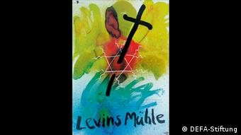 Watercolor poster shows cross piercing the star of david (DEFA-Stiftung)