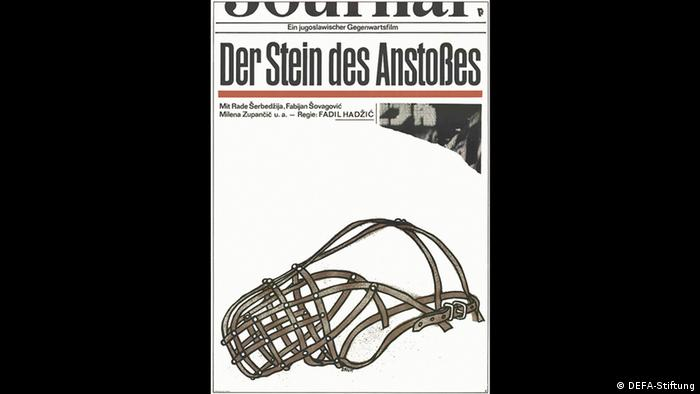 Poster for Der Stein des Anstosses shows a muzzle in front of a newspaper (DEFA-Stiftung)