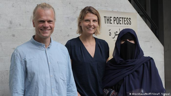 At the opening of The Poetess - Andreas Wolff, Stefanie Brockhaus and Hissa Hilal, L to R
